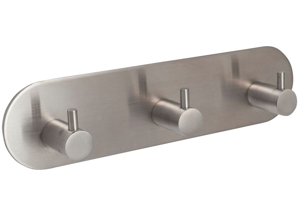 Eclipse 3-Hook Straight Clothes Hook Rail Satin Stainless Steel 192 x  48mm