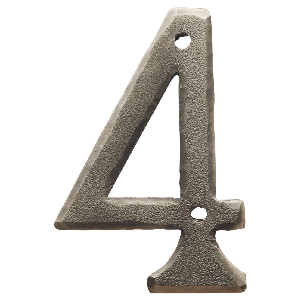Carlisle Brass Ludlow Door Numeral 4 Pewter Effect 78mm