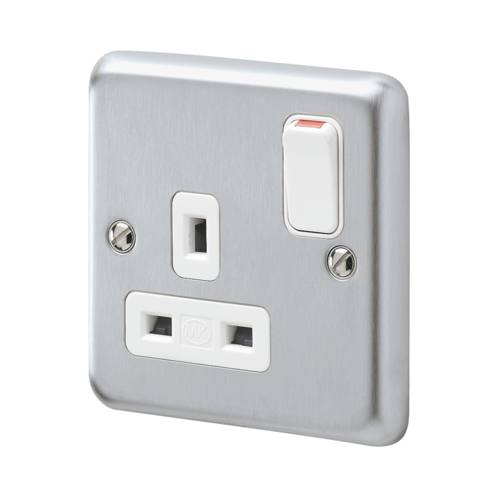 MK Albany Plus 13A 1-Gang DP Switched Plug Socket Brushed Chrome  with White Inserts