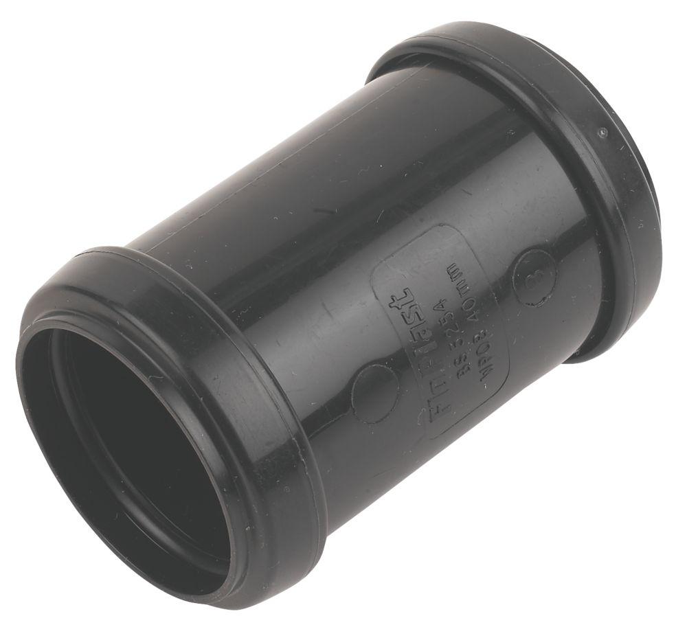 FloPlast Push-Fit Straight Coupler Black 40 x 40mm
