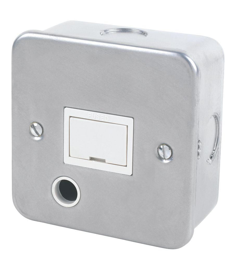 13A Unswitched Metal Clad Fused Spur & Flex Outlet  with White Inserts