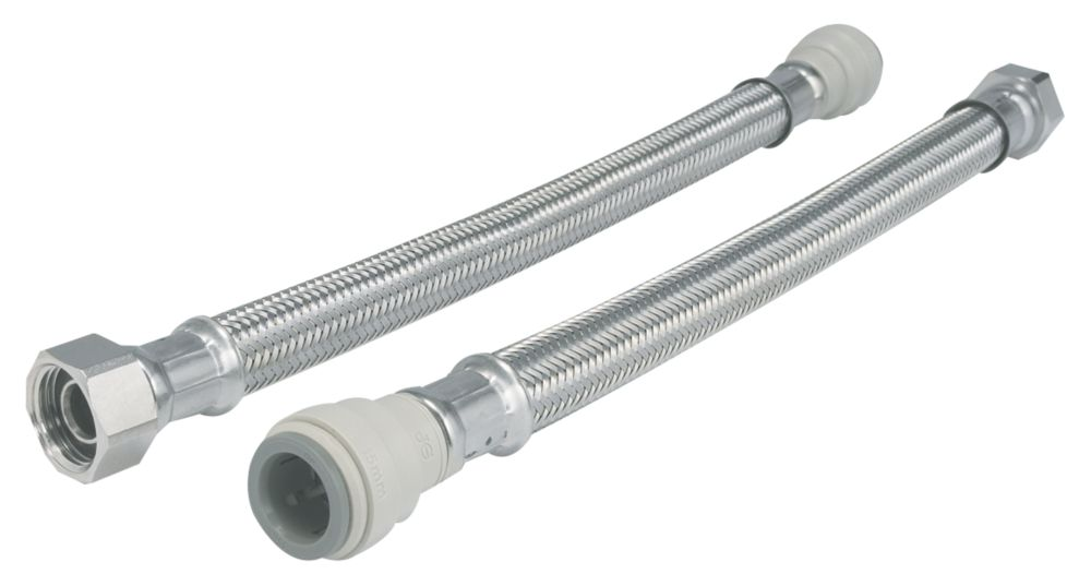 """JG Speedfit Push-Fit Flexible Tap Connector Hoses 22mm x ¾"""" x 300mm 2 Pack"""