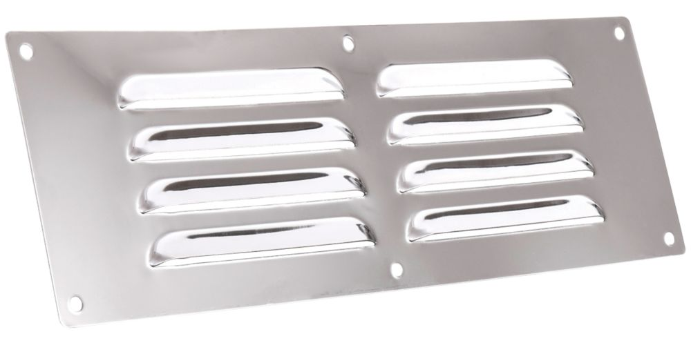 Map Vent Fixed Louvre Vent Chrome Stainless Steel 229 x 76mm