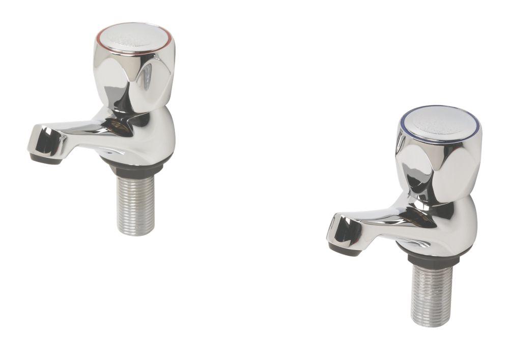 Swirl Contract Metal Head Bathroom Basin Taps Pair