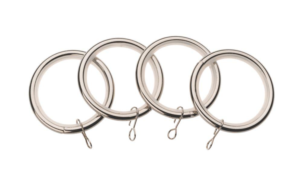 Universal Metal 19mm Curtain Rings Stainless Steel 4 Pack