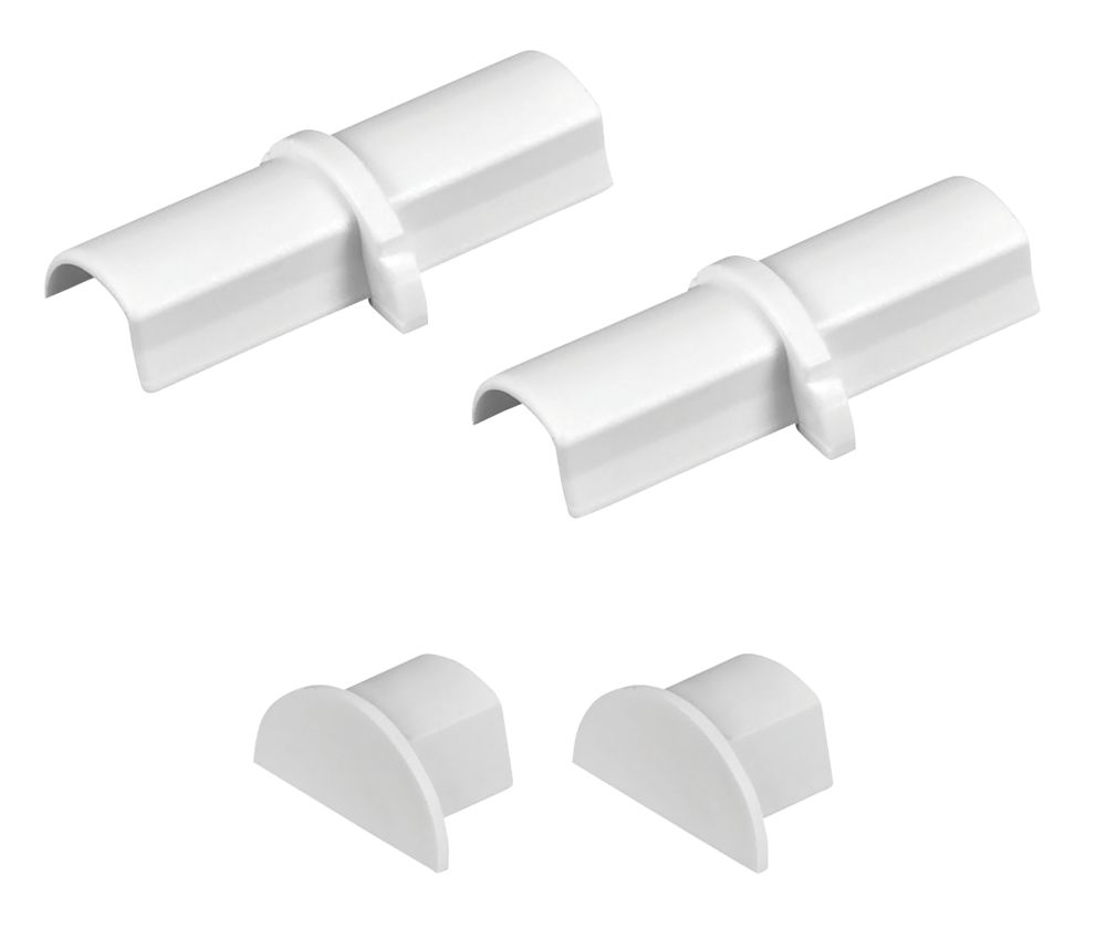 D-Line Plastic White Micro Trunking Coupler & End Cap Pack 4 Pcs
