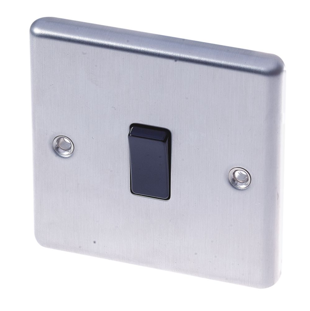 LAP  10AX 1-Gang Intermediate Switch Brushed Stainless Steel with Black Inserts