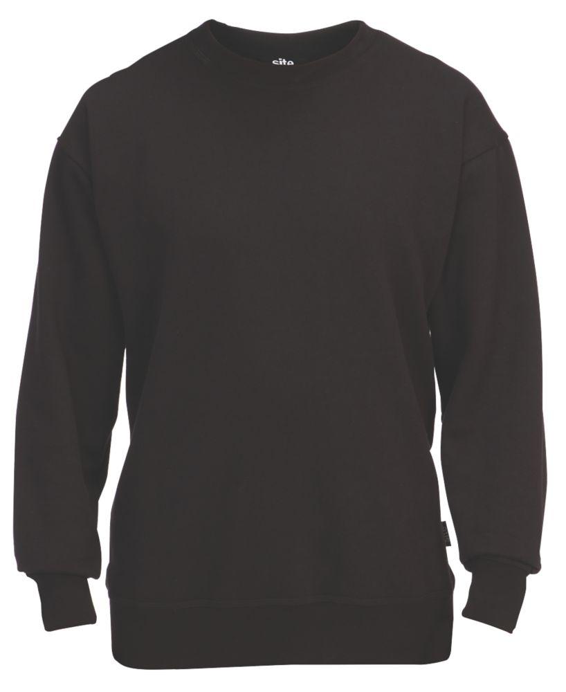 """Site Wingleaf Round Neck Sweatshirt Black Medium 44"""" Chest"""