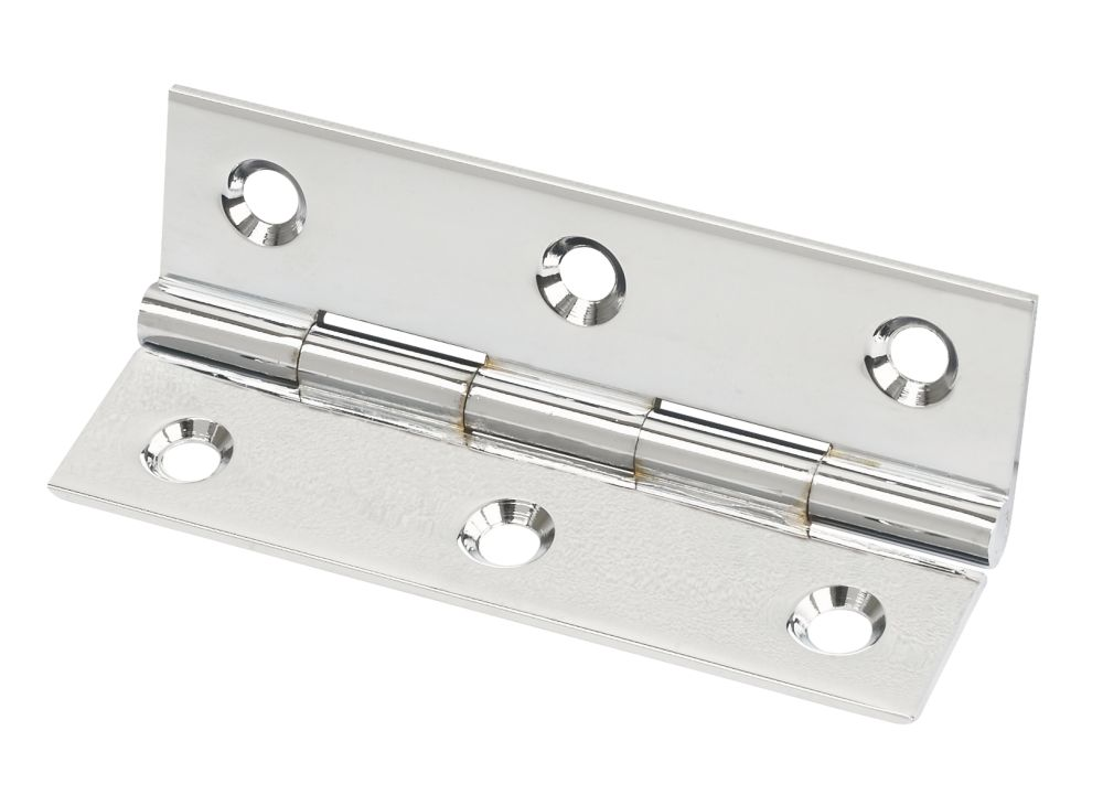 Polished Chrome  Solid Drawn Brass Hinge 76 x 40mm 2 Pack