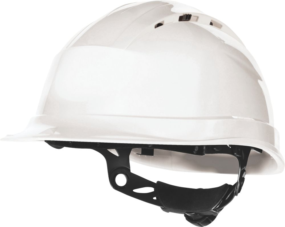 Delta Plus Quartz Up 4 Vented Rotor Wheel Ratchet Safety Helmet White