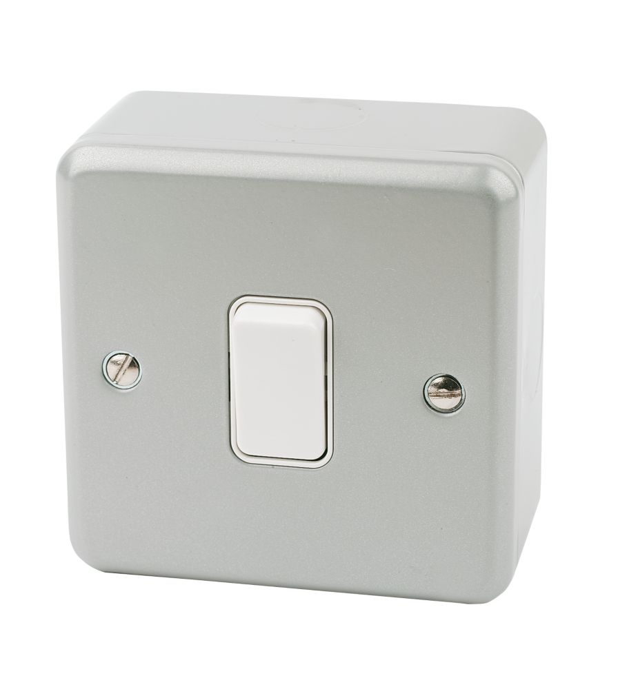 MK Metalclad Plus 10AX 1-Gang 2-Way Metal Clad Light Switch with White Inserts