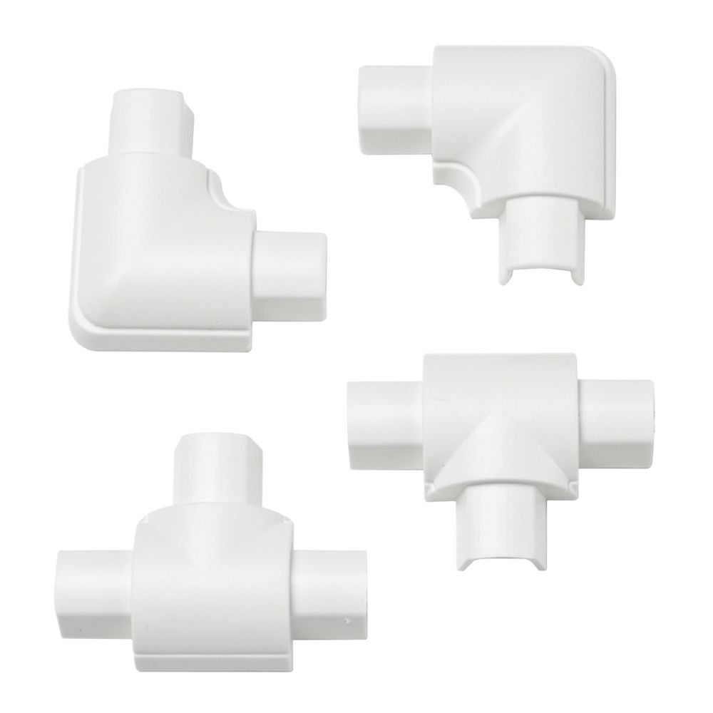 D-Line Plastic White Micro Trunking Equal Tee & Flat Bend Pack 4 Pcs