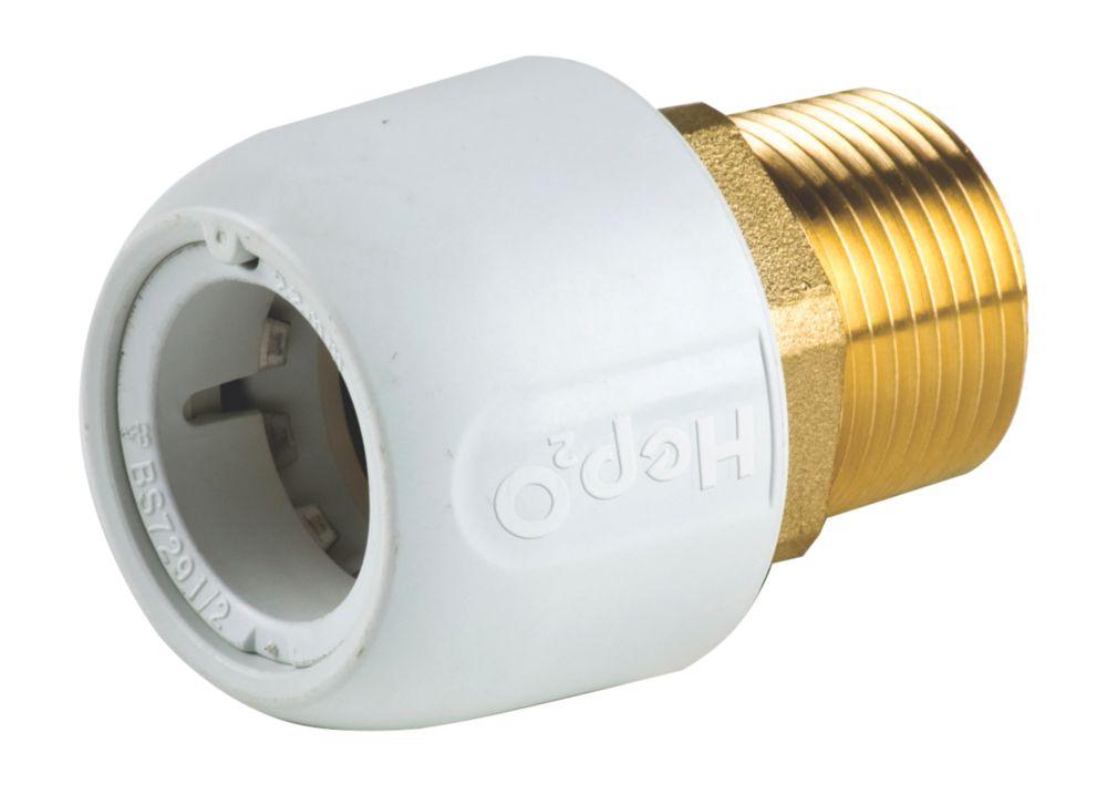 "Hep2O  Plastic Push-Fit Adapting Male Coupler 22mm x ¾"""