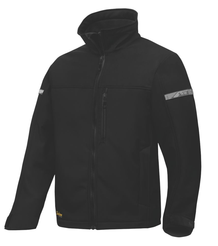 """Snickers AllRoundWork 1200 Softshell Jacket Black X Large 46"""" Chest"""