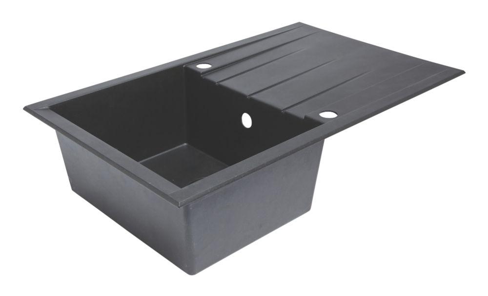 Plastic & Resin Kitchen Sink & Drainer Black 1 Bowl Reversible 800 x 500mm