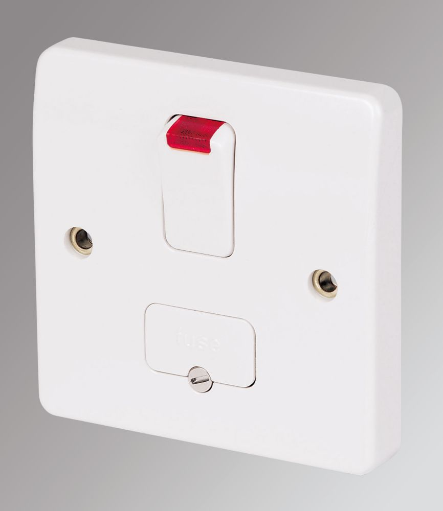 MK Logic Plus 13A Switched Fused Spur & Flex Outlet with Neon White