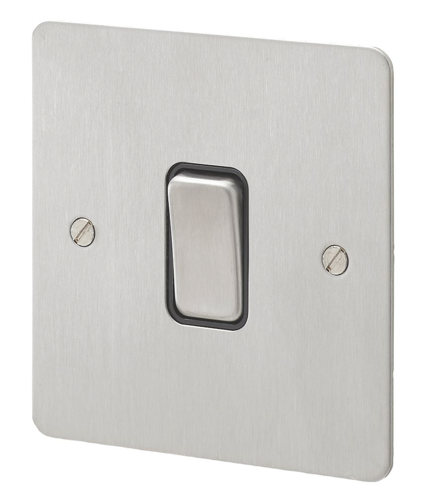 MK Edge 20AX 1-Gang 2-Way Light Switch  Brushed Stainless Steel with Black Inserts