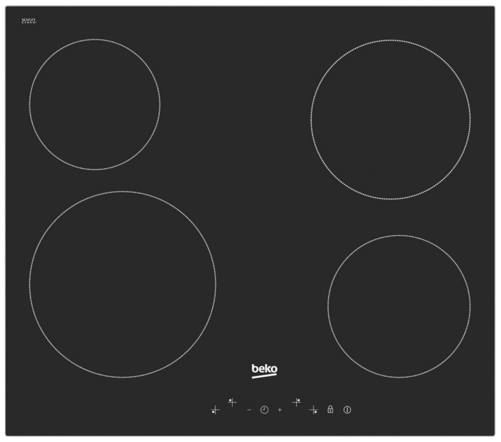 Beko HQC 64401 Electric Ceramic Hob Black 37 x 580mm