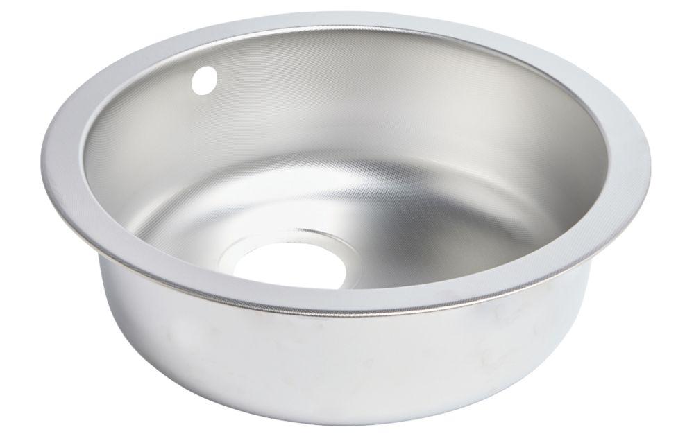 Round Kitchen Sink Textured Linen Stainless Steel 1 Bowl 450 x 450mm