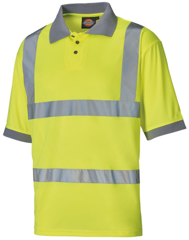 "Dickies SA22075 Hi-Vis Polo Shirt Yellow Medium 42"" Chest"