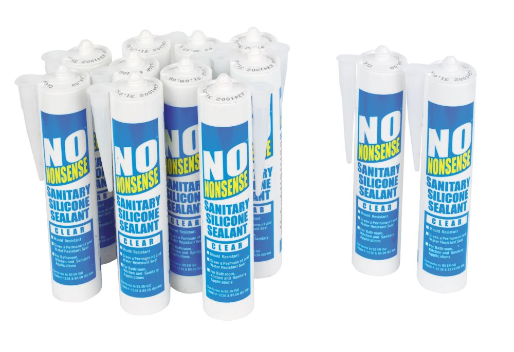 No Nonsense  Sanitary Silicone Clear 310ml 12 Pack