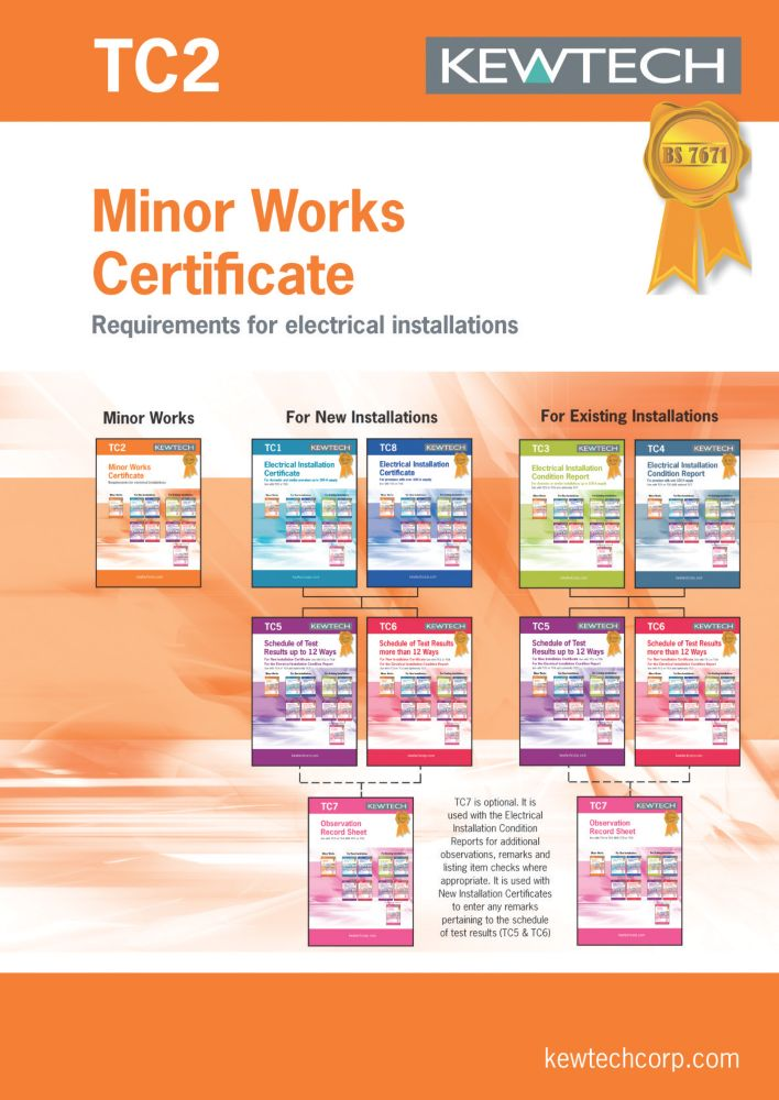Kewtech TC2 Minor Works 40 Certificates