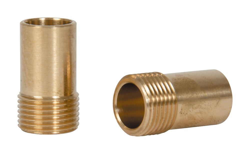 """Tesla  Brass Compression Adapting Flexible Tap Connectors 15mm x 3/8"""" 2 Pack"""