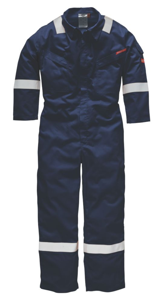 """Dickies FR5401 Flame Retardant Coverall Navy Large 46"""" Chest 31"""" L"""