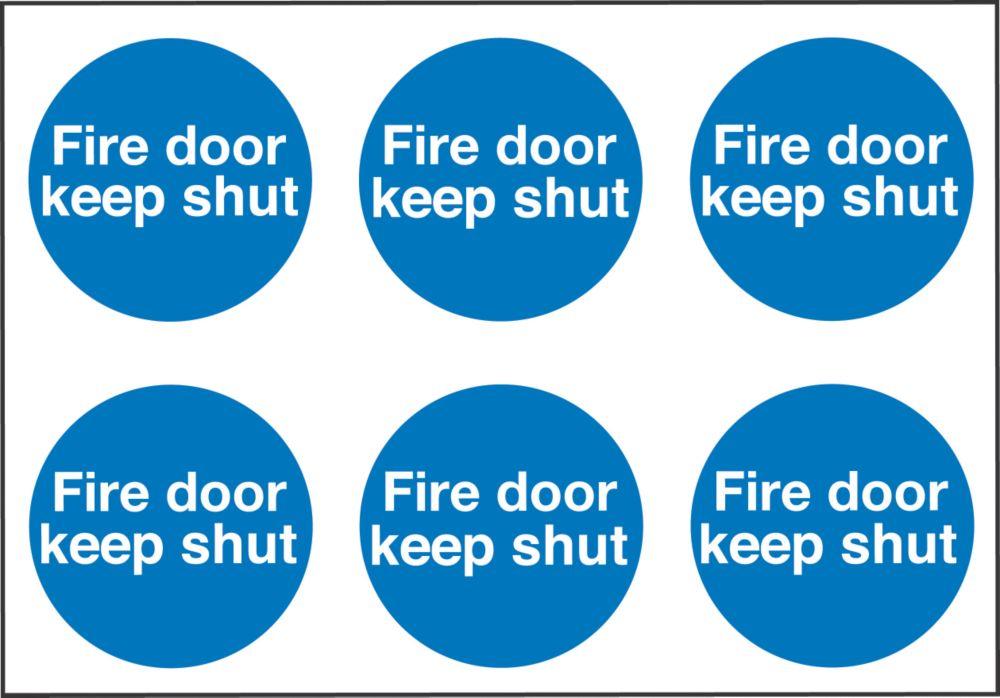 """Fire Door Keep Shut"" Adhesive Labels 100 x 100mm 30 Pack"