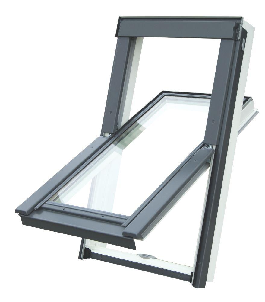 Tyrem  M4A Manual Centre-Pivot White uPVC  Roof Window Clear 780 x 980mm