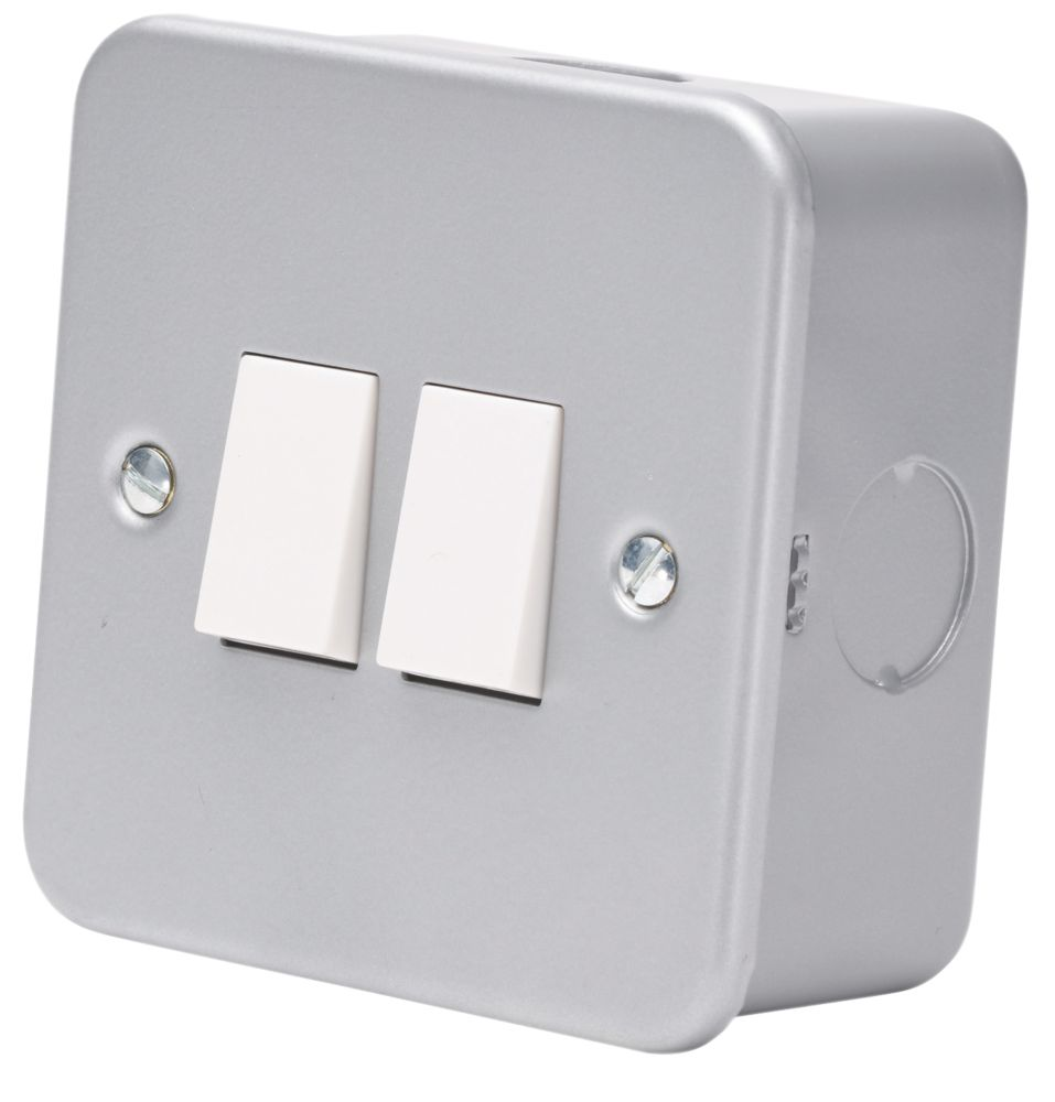 10AX 2-Gang 2-Way Metal Clad Switch with White Inserts