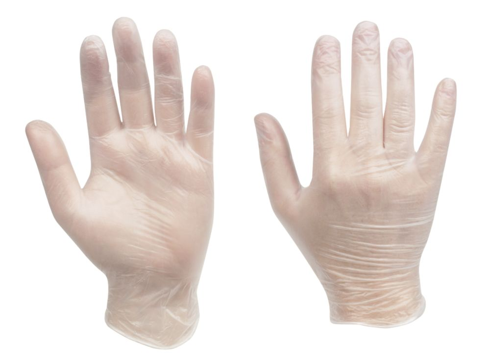 Cleangrip  Vinyl Powdered Disposable Gloves Clear Medium 100 Pack