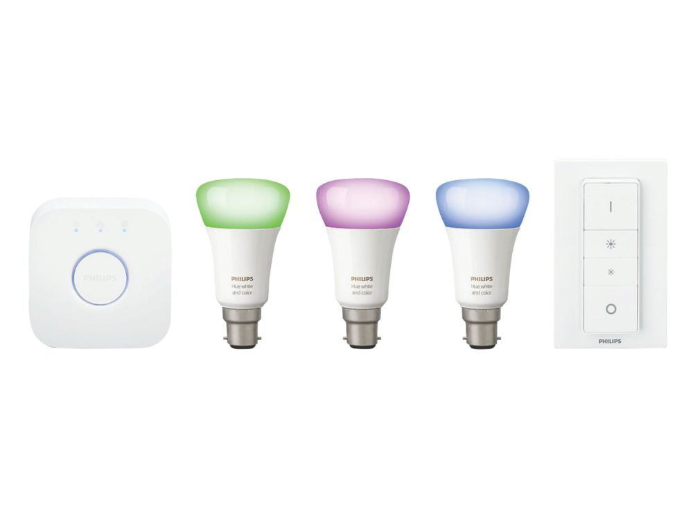 Philips Hue White and Colour Ambience B22 Starter Kit Colour-Changing 10W 806lm 5 Piece Set