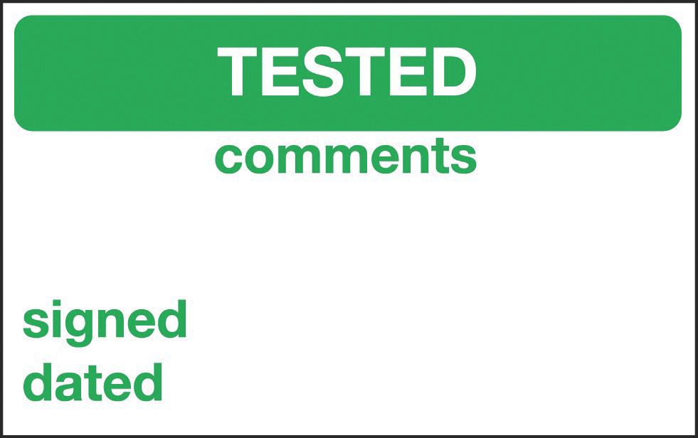 """Electrical Inspection """"Tested"""" Labels 25 x 40mm 250 Pack"""