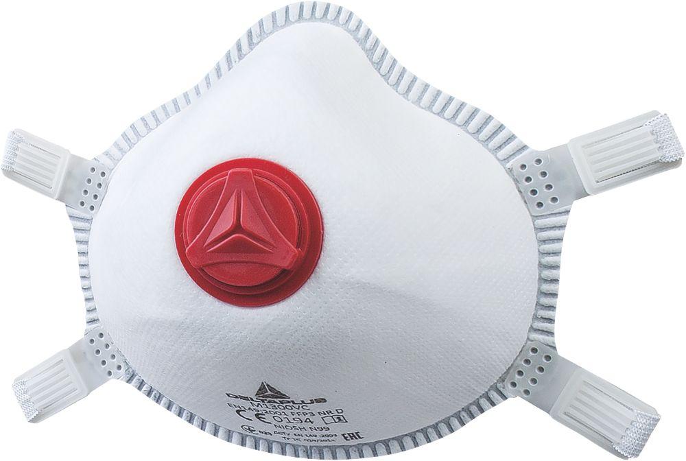 Delta Plus M1300VC Moulded Disposable Valved Masks P3 5 Pack