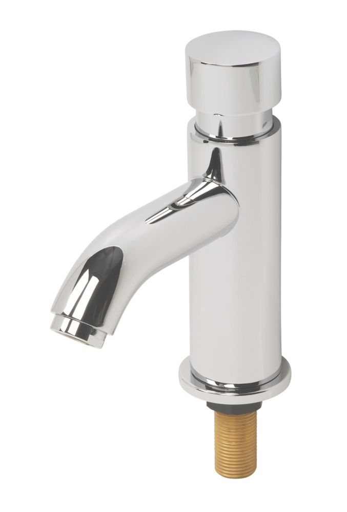 H & C  Self-Closing Contemporary Non-Concussive Bathroom Basin Tap Chrome