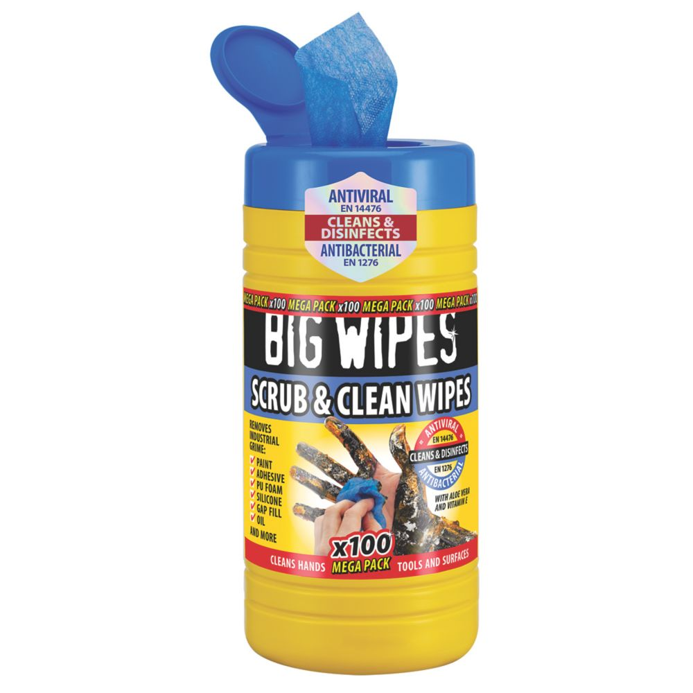 Big Wipes Scrub & Clean Wipes Blue 100 Pack