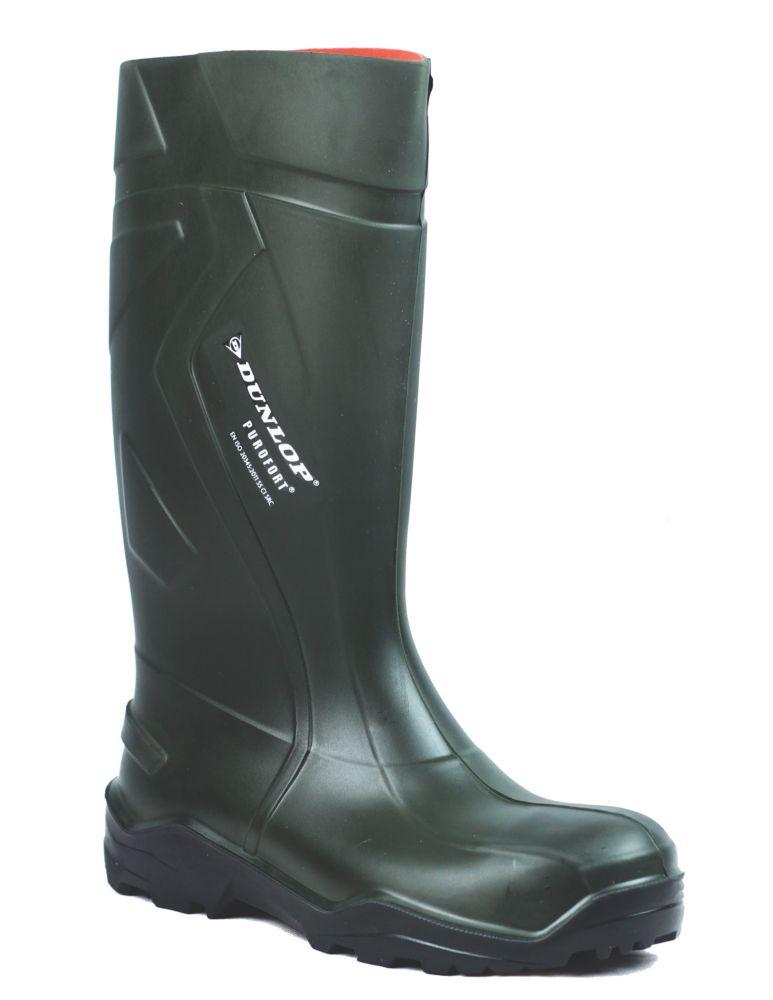 Dunlop Purofort+   Safety Wellies Green Size 8