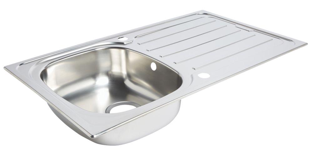 Kitchen Sink & Drainer Stainless Steel 1 Bowl 860 x 500mm