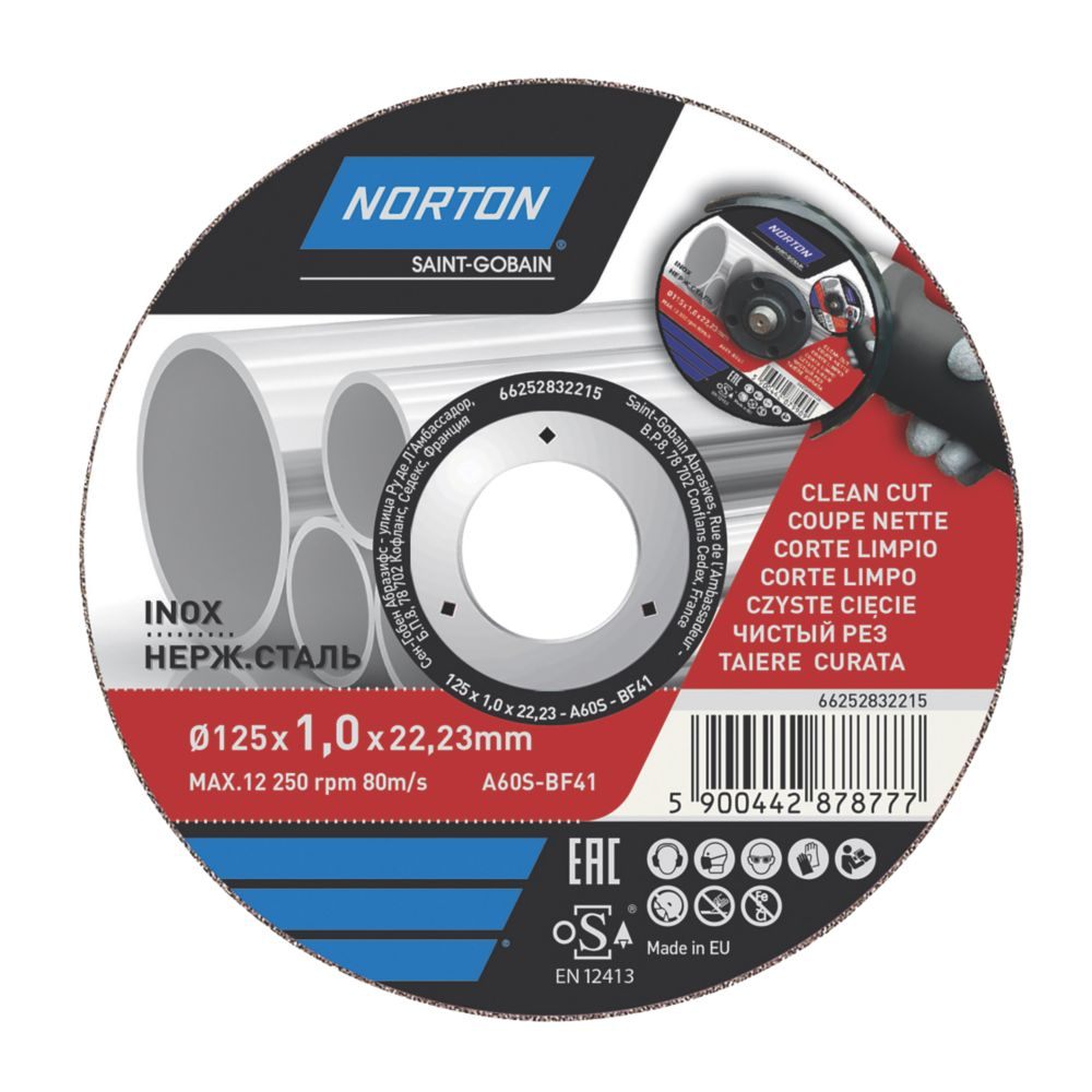 """Norton  Stainless Steel Metal Cutting Disc 5"""" (125mm) x 1 x 22.2mm"""