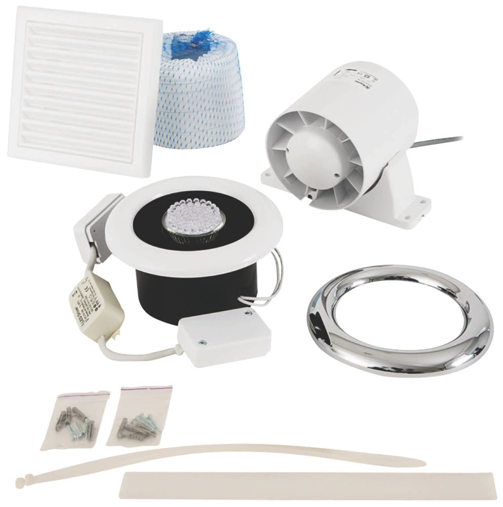 Xpelair In-Line Axial Shower Fan Kit White / Chrome 100mm