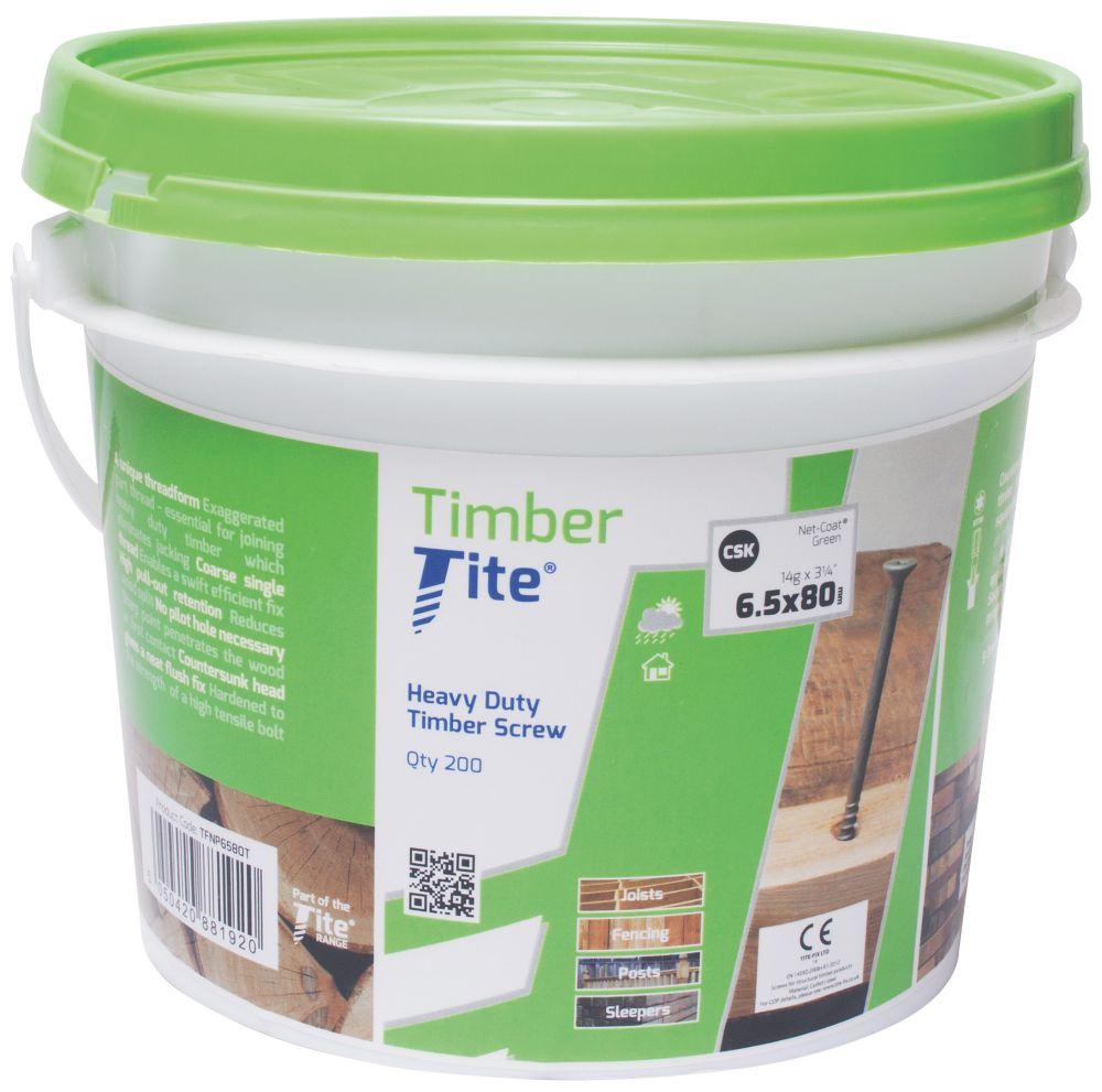 Timber-Tite Bucket 6.5 x 80mm Pack of 200