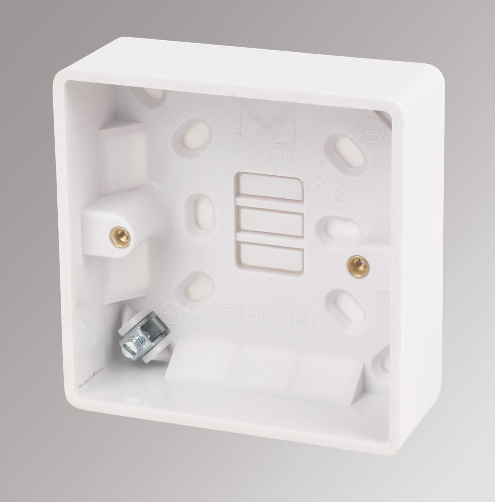 LAP 1-Gang Surface Pattress Box with Earth Terminal White 32mm