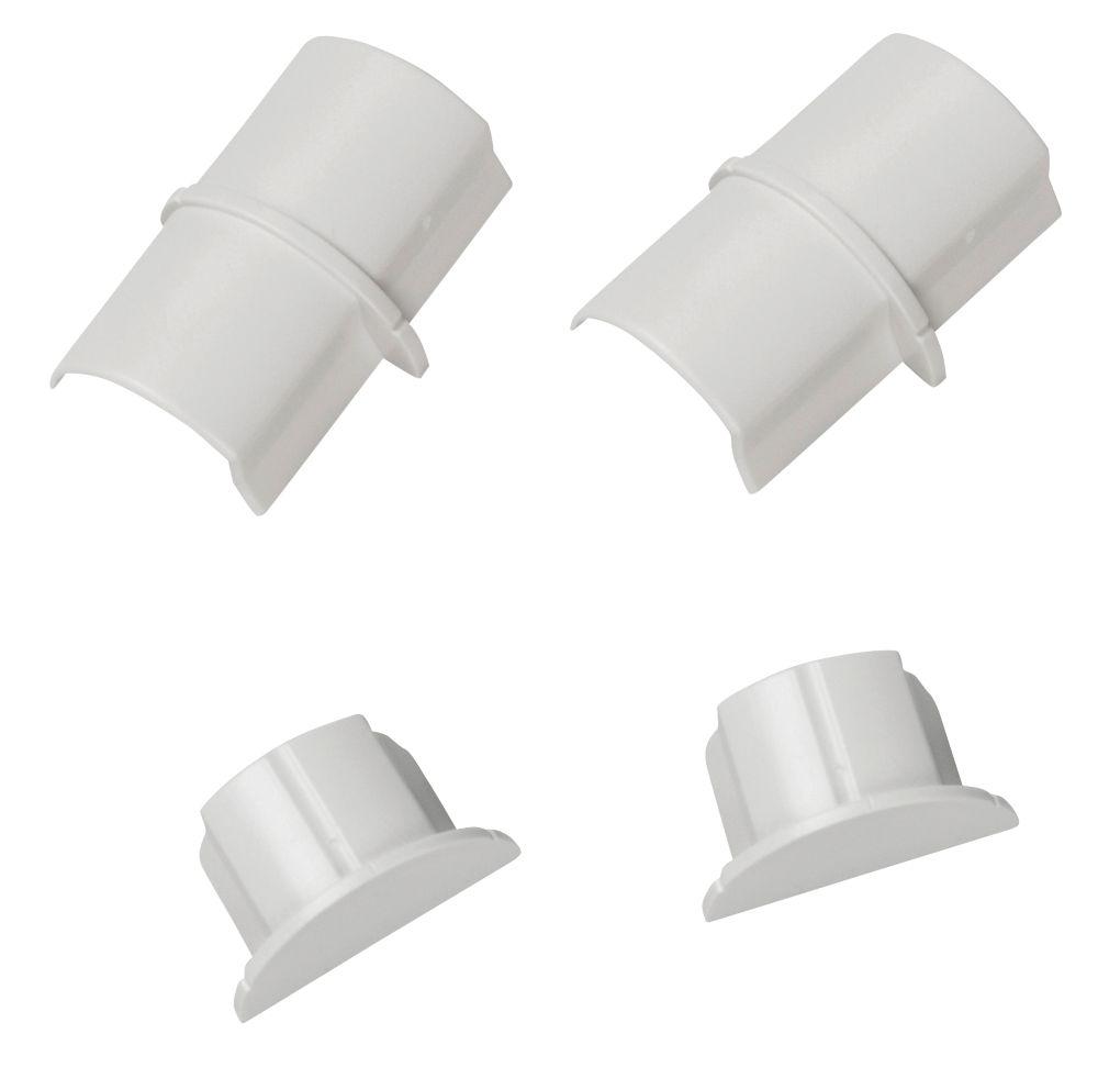 D-Line Plastic White Connector & End Cap Pack 4 Pcs