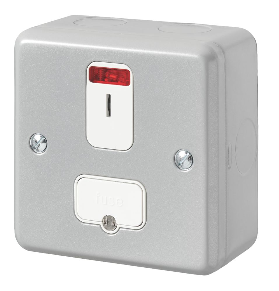 MK Metal-Clad Plus 13A Switched Metal Clad Fused Spur with Neon with White Inserts