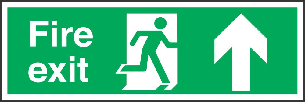 """Fire Exit"" Up Arrow Sign 150 x 450mm"