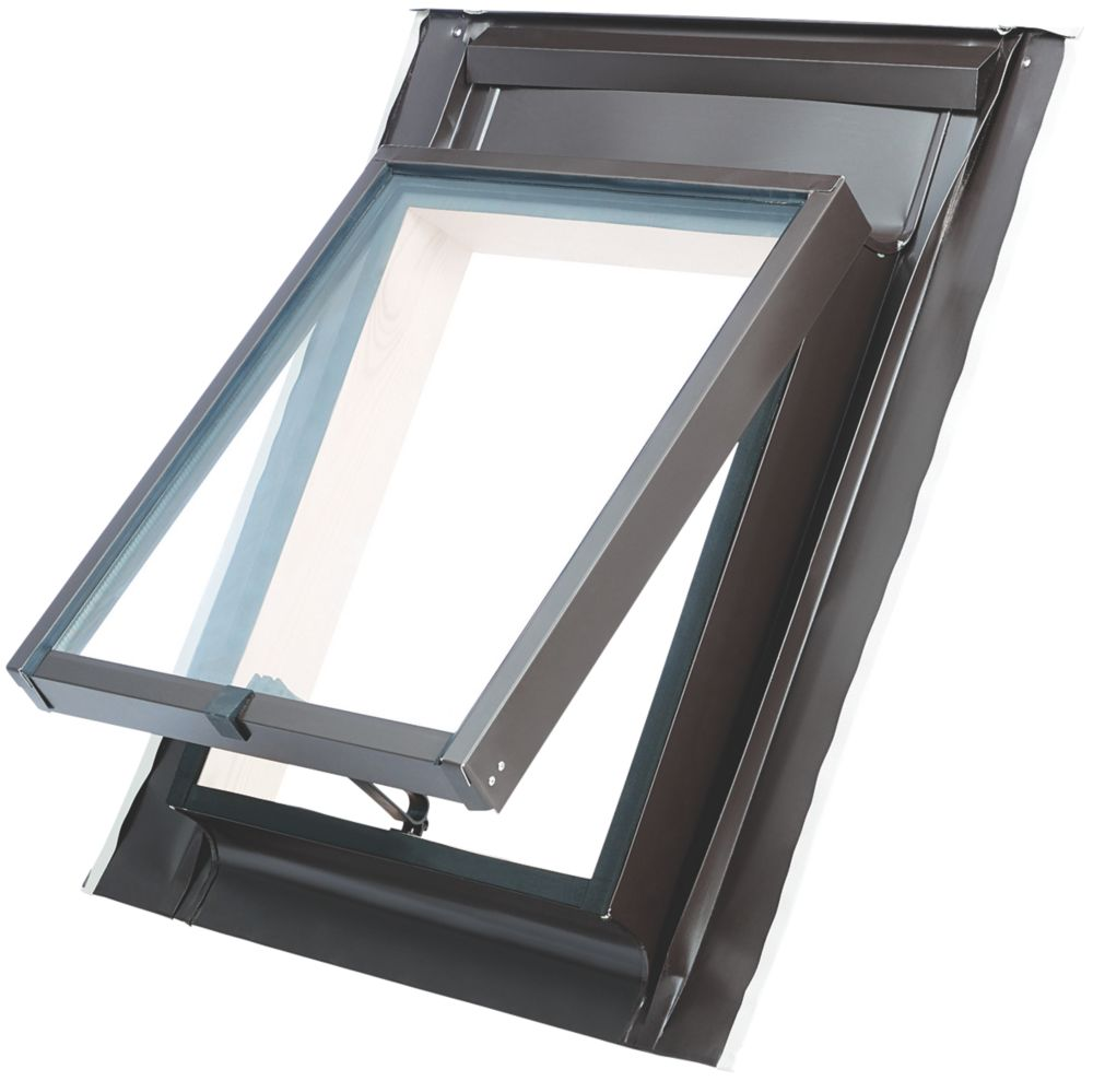 Manual Top-Hung Lacquered Natural Pine  Skylight Clear 450 x 550mm