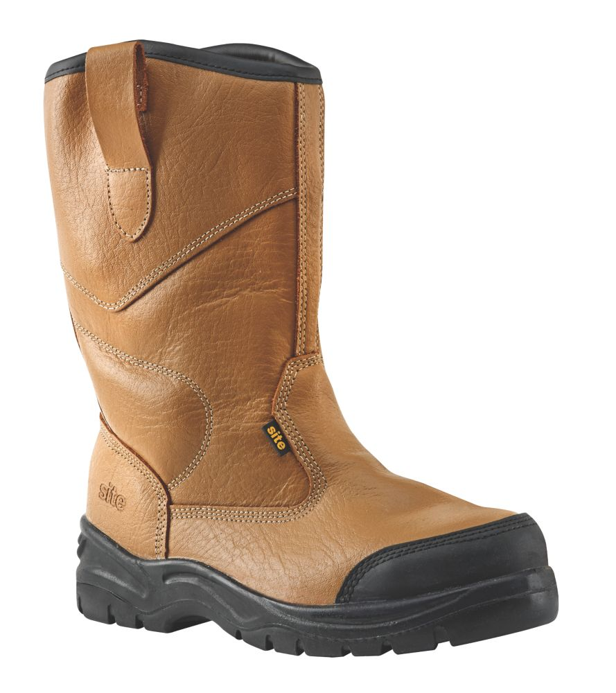 Site Gravel   Safety Rigger Boots Tan Size 8