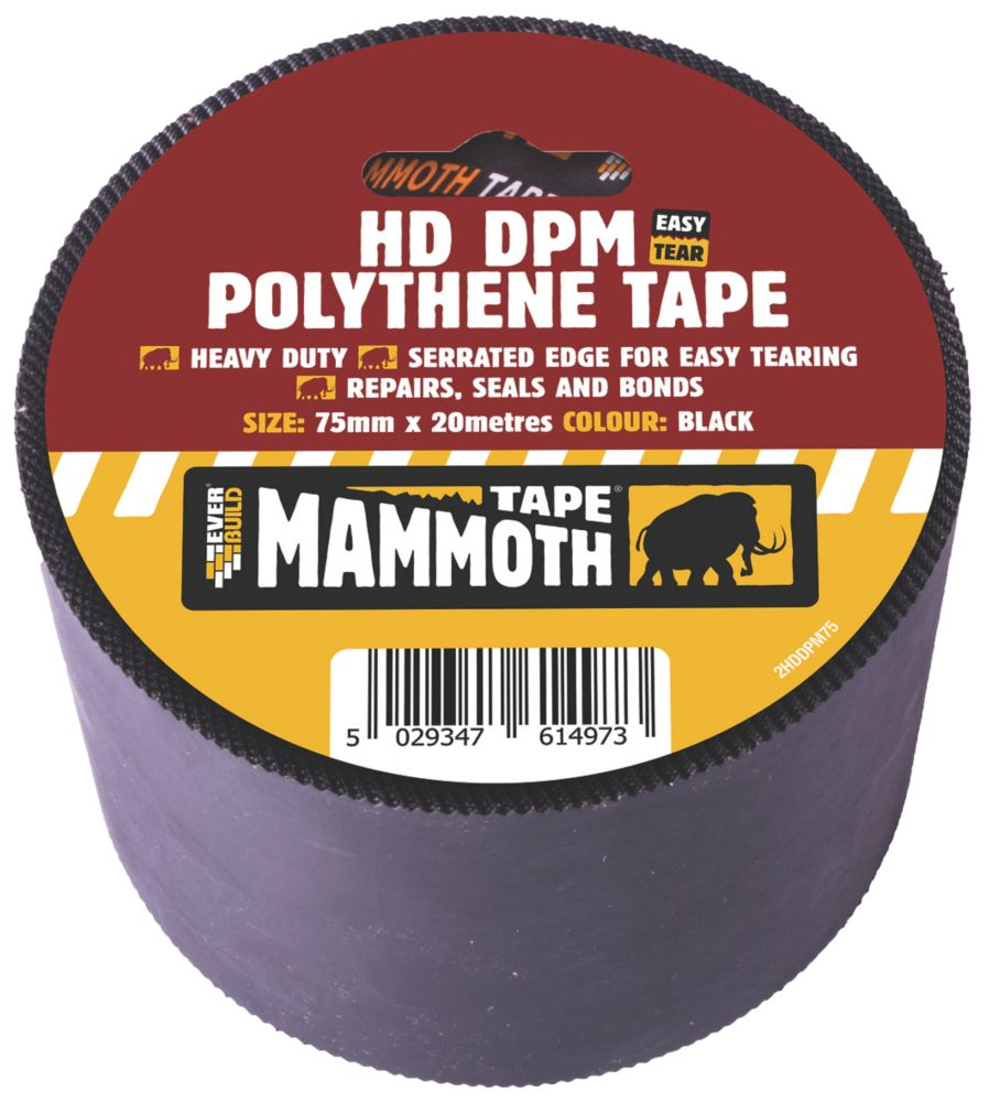 Everbuild DPM Polythene Joint Tape Black 20m x 75mm