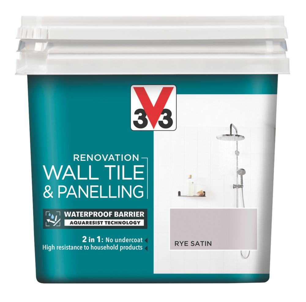 V33 Wall Tile & Panelling Paint Satin Rye Brown 750ml